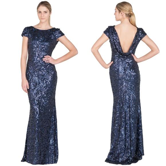 769f00b2db8d1 Badgley Mischka Dresses   Sequin Cowl Back Evening Gown   Poshmark